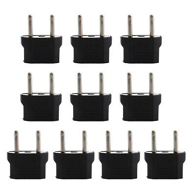 10PCS US USA to EU Europe Euro AC Power Plug Converter Travel Adapter Charger