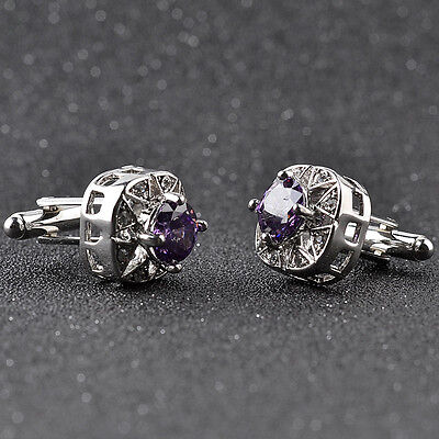 Silver Plated Purple Crystal Men's Cufflinks Shirt Cuff Links Wedding Party Gift