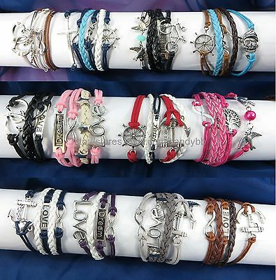 US Seller - 10 pcs infinity charm bracelet wholesale jewelry lot