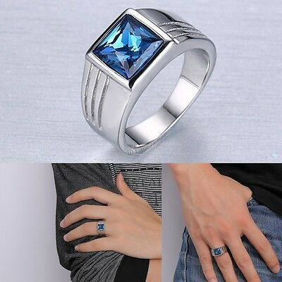 Mens Blue Sapphire Stainless Steel Fashion Wedding Ring Gift Size 7-11