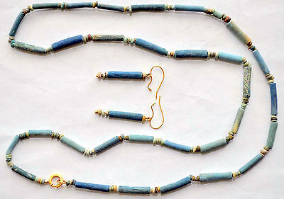 Ancient Egyptian Faience Mummy Beads Necklace and Earrings with 10K Solid Gold