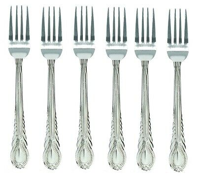 4 x LARGE STAINLESS STEEL KING PATTERN DESIGN TABLE DINNER FORK CUTLERY SET NEW