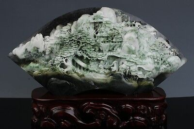 Chinese Natural Dushan jade carving landscape statue