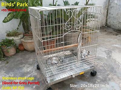Stainless Steel Cage For Grey Parrot Sun Conure Eclectus & Cockatoo