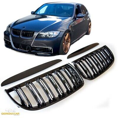 Grille  For Bmw E90 E91 Sport Kidney 05-07 Double Slat M3 Look Glossy Black
