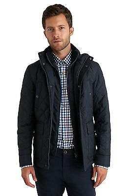 Moss 1851 Mens Jacket Tailored Fit Navy Blue Quilted Polyester Casual Zip Up