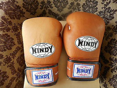 Windy 16oz Brown Natural Leather Thai Boxing Gloves MMA UFC Sparring Training
