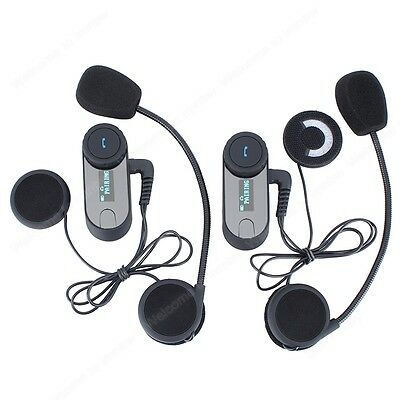 2xMotorcycle Casco Auricular Bluetooth Motocicleta Intercomunicador 800M+FM+