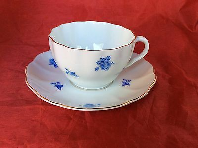 Arabia Teacup & Saucer, White with Blue Flowers, Finland