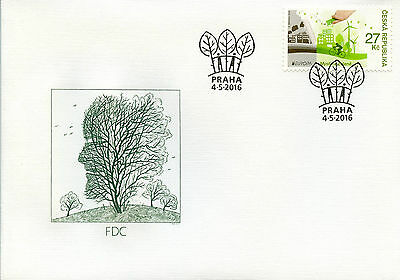 Czech Rep 2016 FDC Europa Think Green 1v Set Cover Bicycles Windmills Stamps