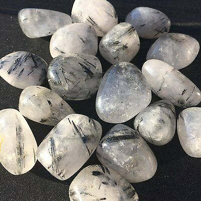 *1* Tourmalated Quartz  Tumbled Chakra Healing Stone 20-25mm