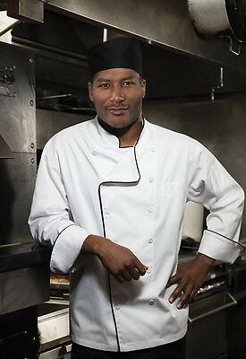 Dickies Executive Chef Coat with piping in White with Black (ALL SIZES) DC 42B