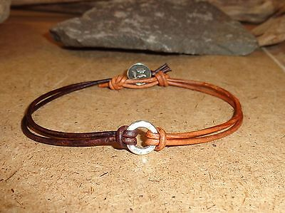 Two Tone Leather & Sterling Silver Button Anklet