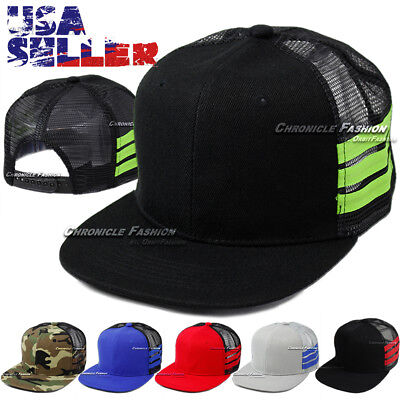 Baseball Cap Trucker Adjustable Hat Plain Mesh Flat Visor  Solid Blank Snapback