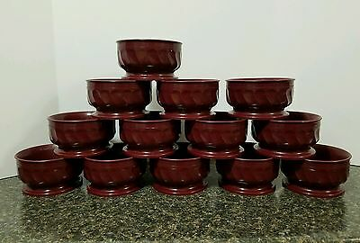 Dinex DX3300 Turnbury Cranberry 9 Oz. Insulated Pedestal Base Bowl - Lot of 17