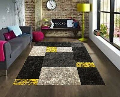 Large Yellow Silver Grey Modern Rugs Bright Vibrant Soft Cheap Rug Long Runners