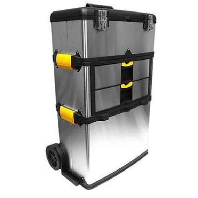 Large Mobile Deep Wheeled Storage Chest Tool Box 2 Drawer Removable Supply Trays