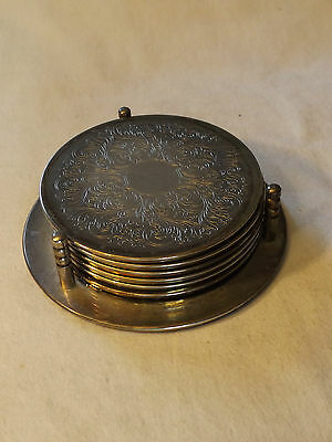 Collectable - Vintage - Group Lot of 6 - Silver Plated Coasters