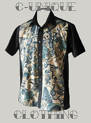 Mens Black Contigo Skulls Mexican 50s lounge diner s/s shirt Gothic Rockabilly