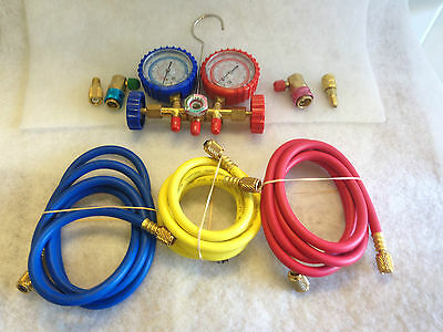 R410a AIR CONDITIONING AND REFRIGERATION MANIFOLD  GAUGES WITH HOSES