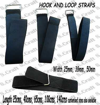 HOOK AND LOOP VELCRO REUSABLE STRAP ADJUSTABLE LUGGAGE TIE DOWN METAL BUCKLE x 2