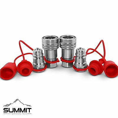 """1/2"""" Ag Hydraulic Quick Connect Couplers Couplings, Poppet Pioneer Style 2 Sets"""