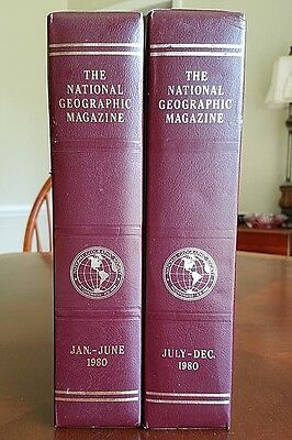 NATIONAL GEOGRAPHIC 1980 SLIP-CASES - Set of 2 - VERY GOOD Condition