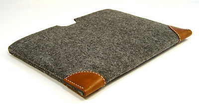 DELL XPS 13 felt with leather corners sleeve case - UK MADE - LASER CUT