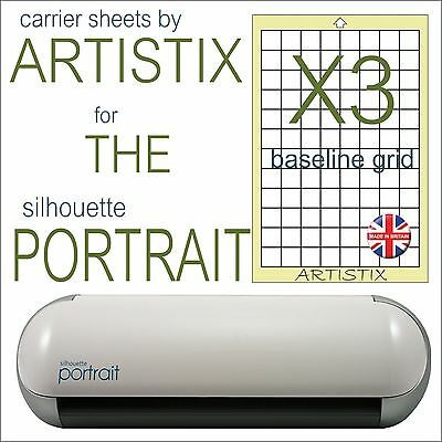 """3 x Mat pack Silhouette Portrait Cameo Full Grid A4 8""""x12"""" Save on Carrier sheet"""