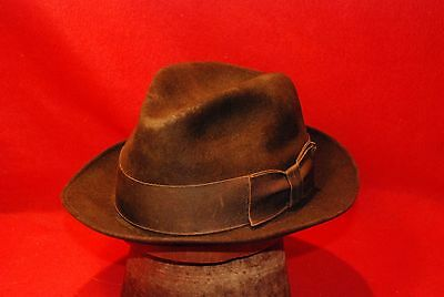 Brown Dobbs Fedora Men's Hat Vintage with Brown Band Size 7 1/8