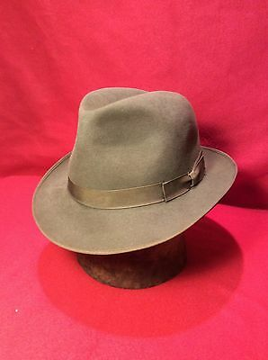 "Brown Richman Brothers Fedora Men's Hat With Brown Band Vintage Size 7"" 1/4"""