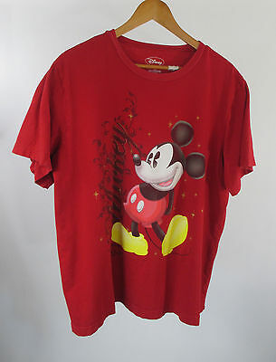 Womens Disneys Mickey Mouse Stars Red Crew Neck T-shirt Size 2X