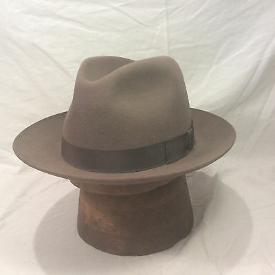 TAUPE BARLESONI FEDORA Men s Vintage Hat with Brown Band -- Size 7 ... adc5db09582