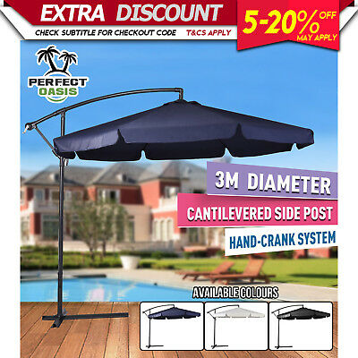 NEW 3M PERFECT OASIS GARDEN UMBRELLA CANTILEVER SHADE Outdoor Deck Patio Market