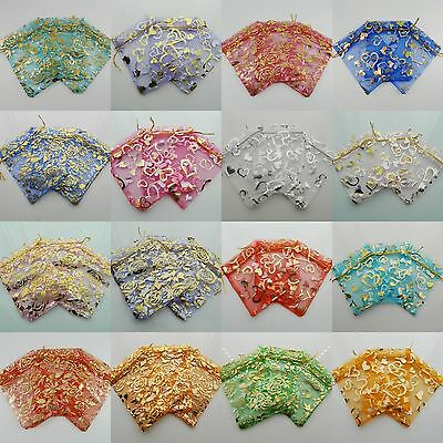 100pcs Floral Roso Organza Gift Jewelry Pouch Wedding Party Candy Bag Packing