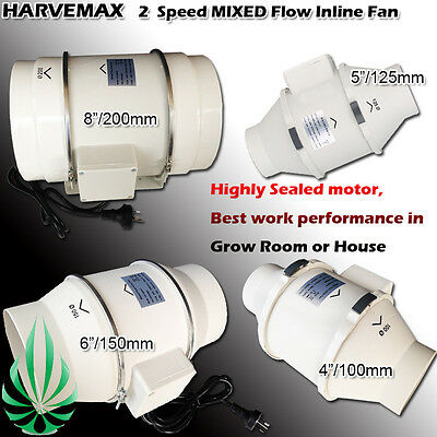 "2 Speed Inline Ventilation Exhaust Fan 4""/5""/6""/8"" Vent Duct Extractor Low Noise"