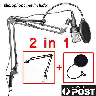 Broadcast Studio Desktop Microphone Mic Stand Suspension Boom Scissor Arm Holder