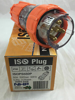 NHP ISOPS550P Plug Straight Top 5 Pin Round Pins 3 Phase 50A 500V AC 50 Amp