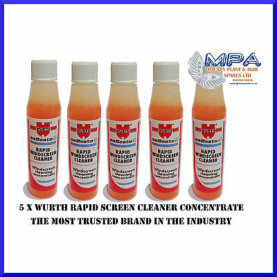 5 x Wurth Rapid Windscreen Cleaner Concentrate, Make 3 Litres Screen Wash EACH