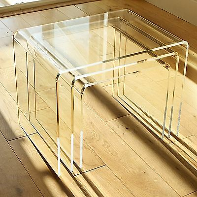 NEST OF 3 TABLES 6mm Clear Acrylic, Diamond Polished Edges, British Made