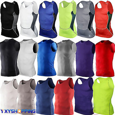 DRI-FIT Mens Body Compression Base Layer Sleeveless Sports GYM TShirts Tank Tops