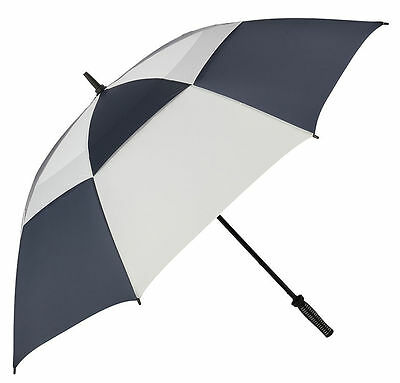 Golf Umbrella Vented Canopy and Strong Windproof Fibreglass Frame - Blue & White