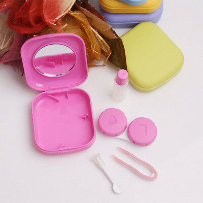 Mini Contact Lens Case Travel Kit Mirror Pocket Size Storage Holder Container