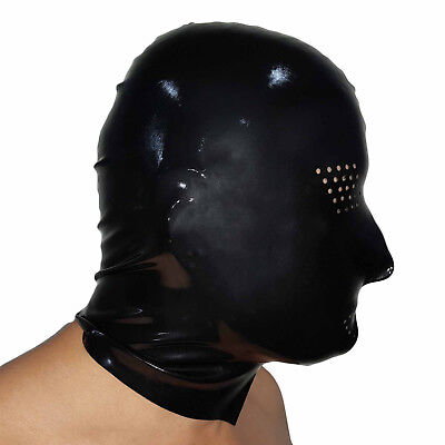 Brand New Latex Black Perforated Rubber Gummi Hood Mask (one size)