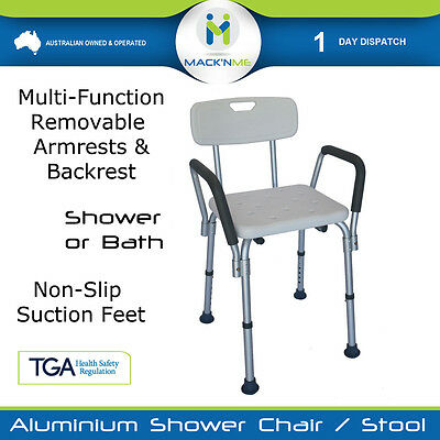 Shower Chair Seat Stool Bath Aluminium With Height Adjustable Medical