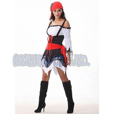 Adult Women Viking Pirate Cosplay Costume Halloween Fancy Dress Carnival Outfit