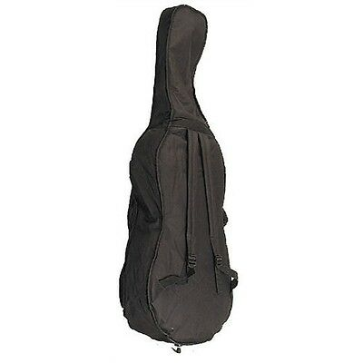 Black Durable Cello Bag 4/4 Size Cello Gig Bag W/Accessory Pockets & Straps