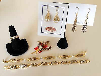 Set #71 6 Pcs Toledo Spain 24K GP Bracelet Earrings Ring Damascene Style VINTAGE