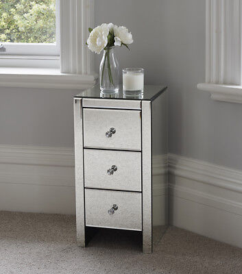 Venetian Mirrored Glass Bedside Table with Three Drawers and Glass Handles Mirro