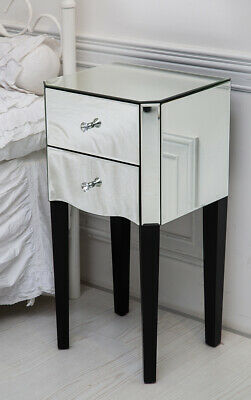 Mirrored Bedside Table Nightstand Cabinet 2 Silver Mirror High Shine Drawers Bla